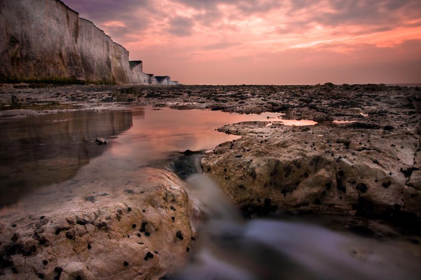 falaise rocher mer reflet soleil